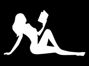 Smart-Girl-Reading-Girl-Decal-White-Vinyl-Cut-Bumper-Sticker