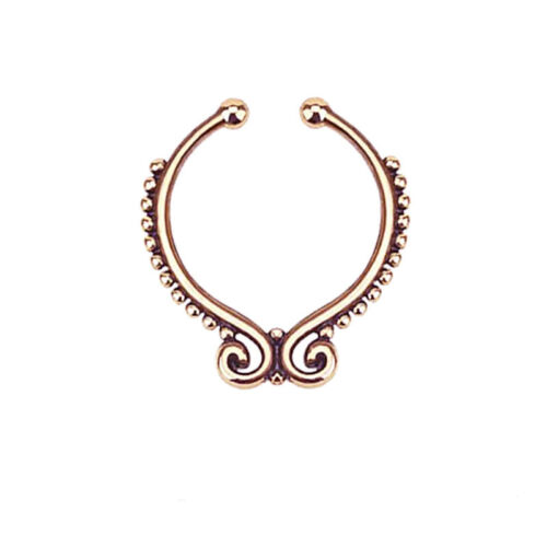 2Pc Trend Fake Septum Clip On Non Piercing Swirls Septum Nose Ring Faux Clicker