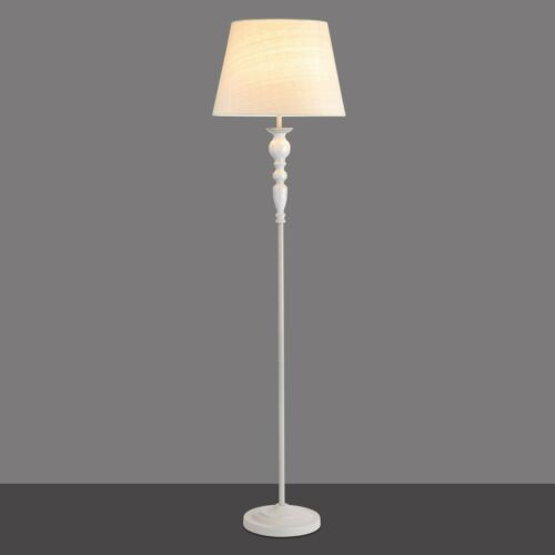Beige Linen Shade Aria Shabby Chic Tall Floor Lamp Grey Painted Finish