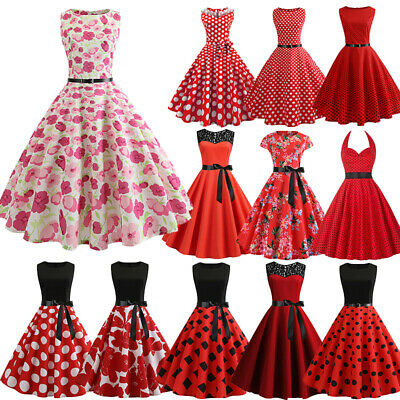 Plus Size Women 1950s Vintage Rockabilly Red Evening Prom ...