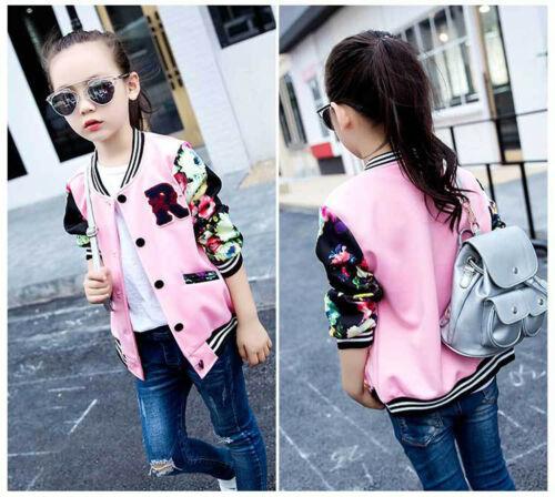 Teen Kids Baby Girls Baseball Jacket Long Sleeve Print Stripe Sport Coat Outwear