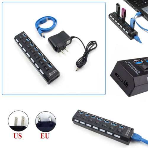 Slim 4//7-Port USB 3.0 5Gbps Speed Portable Compact Hub Adapter For PC Laptop