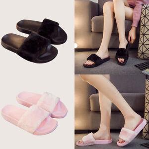 Fur-Slide-Flip-Flop-Cute-Slippers-Comfortable-Flat-Shoes-Faux-Furry-Sandals-Pom