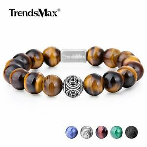 AAA-Natural-Stone-Round-Bead-Bracelet-Gemstone-Stretch-925-Sterling-Silver-Charm