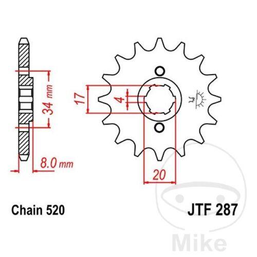 14 Teeth JTF287.14 JTF287.14 JT Front Sprocket 520 Pitch