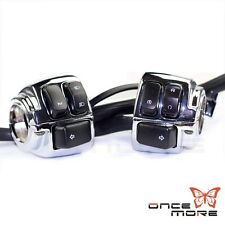 s l225 custom chrome left side handlebar wiring harness with black switches