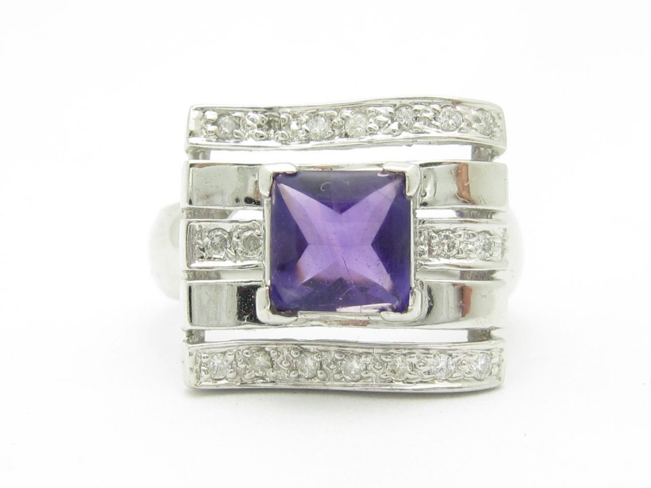 14kt White gold Genuine Diamond & Purple Amethyst Halo Design Cushion Cut Ring