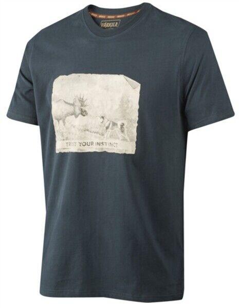 Harkila Odin Moose & Dog T Shirt Dark Navy Men's Country Hunting Shooting