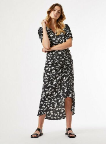 Dorothy Perkins Womens Multi Coloured Floral Print Ruched Wrap Midi Dress