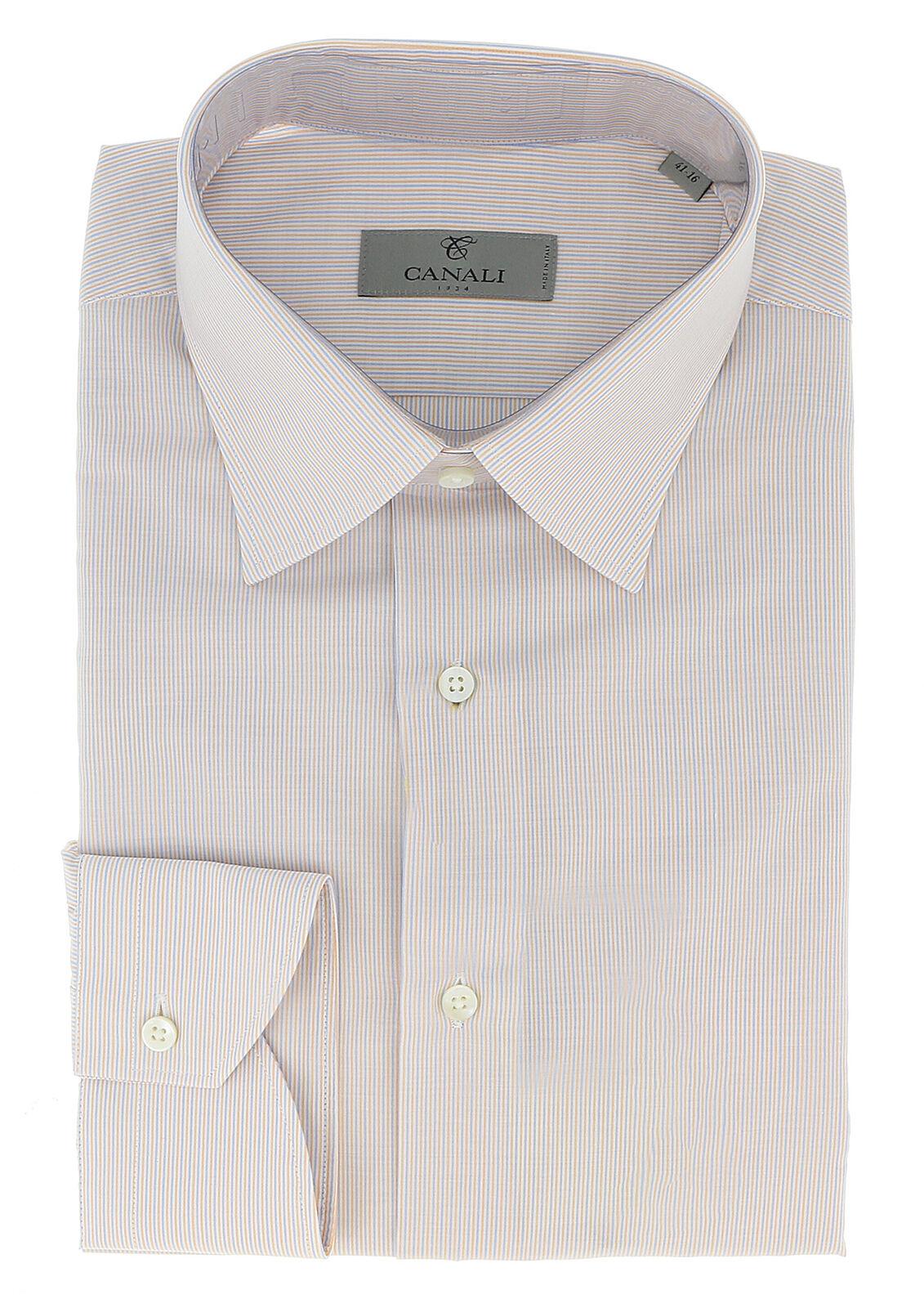 Canali bluee Peach Stripe Formal Shirts