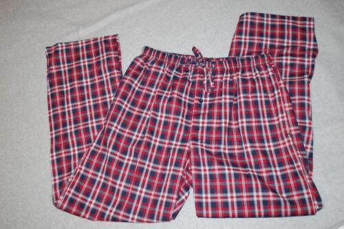 Mens Pajama Lounge Pants RED NAVY PLAID Lightweight 2 POCKETS Size M 32-34