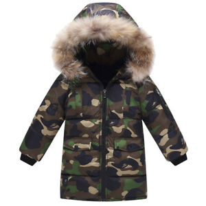 1a9f7a3c Fur Hooded Coat Boys Kids Camouflage Warm Winter Cotton Padded Long ...