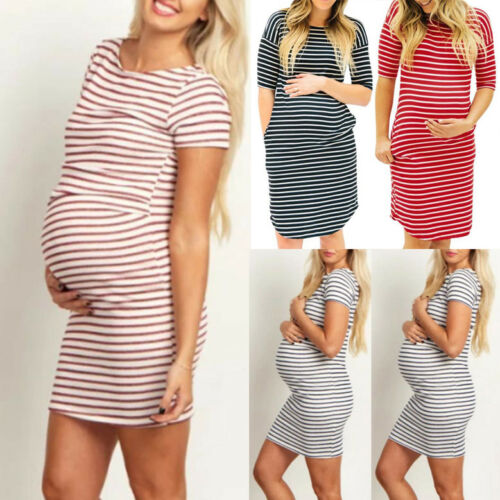 Womens Casual Pregnants O-Neck Stripe Short Sleeve Nursing Maternity Dress Home