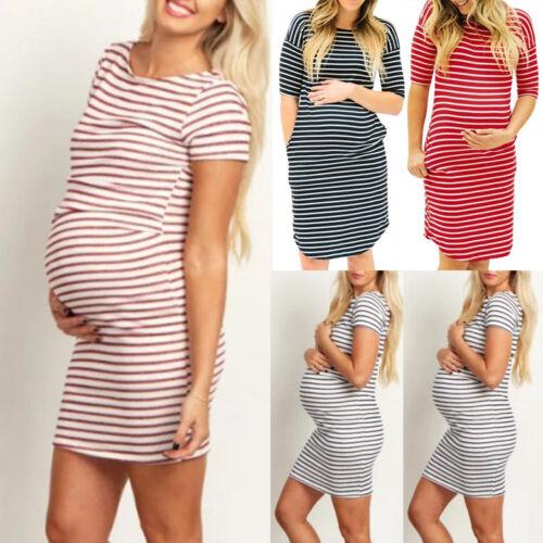 Womens Casual Pregnants O-Neck Stripe Short Sleeve Nursing Maternity Dress Home