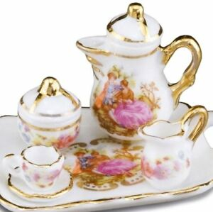 DOLLHOUSE-Baroque-Style-Coffee-Set-w-Tray-for-1-1-665-5-Reutter-Miniature-2018