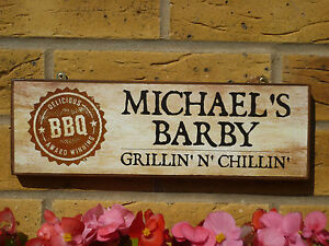 Image Is Loading PERSONALISED BBQ SIGN BARBECUE SIGN CHILLIN AND GRILLIN