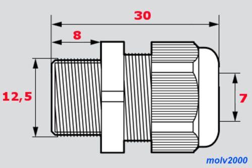 Waterproof Kabel Adapter 5x Prensaestopa PG7 3 A 6,5mm M12 IP68
