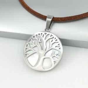 Silver Celtic Tree Of Life Pearl Stainless Steel Pendant Brown Leather Necklace