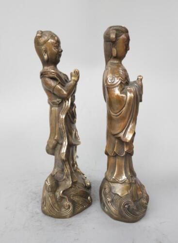 China/'s pure brass golden boy and jade girl statue a pair