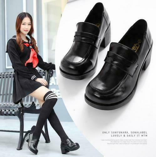 Womens Brogue patent leather chunky high shoes Loafers Retro British College New
