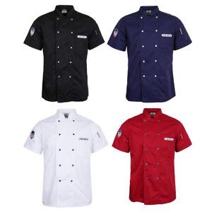 Chef-Coat-Jacket-Men-Women-Kitchen-Short-Sleeve-Badge-Hotel-Cook-Uniform-Top