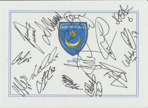 PORTSMOUTH 20102011 SEASON ORIGINAL HAND SIGNED M CARD 15 X SIGNATURES