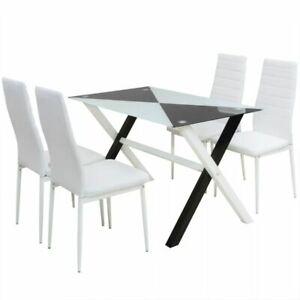 Sedie Da Cucina In Acciaio.Vidaxl Set Da Pranzo 5 Pz Sala Cucina Ecopelle E Acciaio Bianca