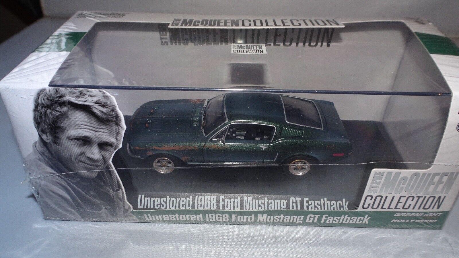 1968 FORD MUSTANG GT GREEN UNRESTORED  STEVE MCQUEEN  1 43 BY GREENLIGHT 86437