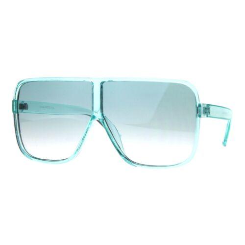 Womens Super Oversized Fashion Sunglasses Flat Top Square Translucent Frame