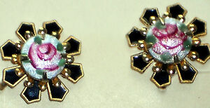 #728C Vintage Earrings Guilloche Enamel Floral Filigree Cloisonne Screw Back NOS