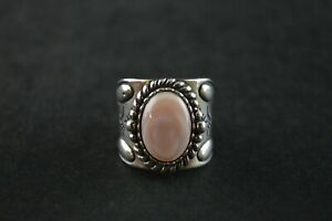 Fougueux Vintage Native Sterling Silver Dôme Bague W Pink Stone - 11.4 G-afficher Le Titre D'origine