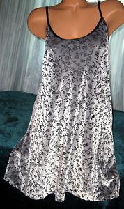 Silver-Black-Burnout-Velvet-Nightgown-Slip-Chemise-1X-2X-Short-Gown-Plus