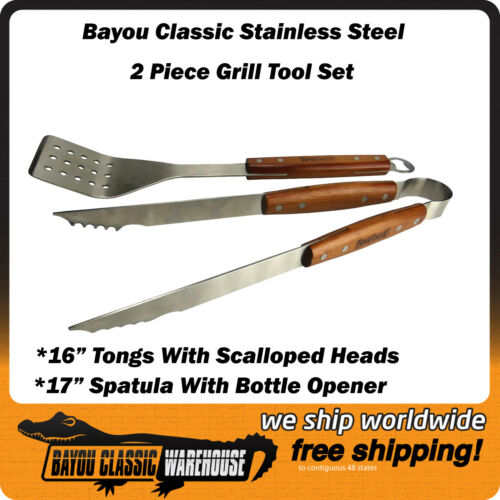 Bayou Classic Stainless Steel Two Piece Grill Tool Set With Spatula and Tongs