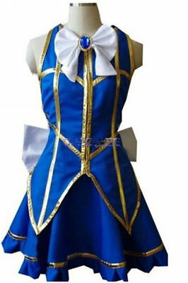 New! Fairy Tail Lucy Heartfilia Default Uniform Cosplay Costume Party Dress MM