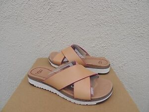 Image is loading UGG-KARI-NATURAL-LEATHER-IMPRINT-SLIDE-SANDALS-WOMENS-