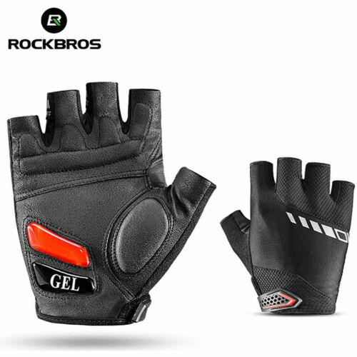 ROCKBROS Cycling Half Finger Gloves Sport Silicone Gel Black Gloves Size XL