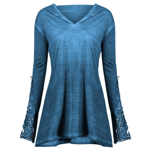 Womens Casual Long Sleeve Lace Crochet Panel Plus Outerwear Hoodie Blouse Tops L