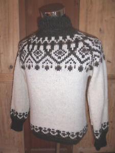 Stobi-Island-Norweger-Strick-Pullover-hippie-LOPI-vintage-echte-Wolle-Gr-S