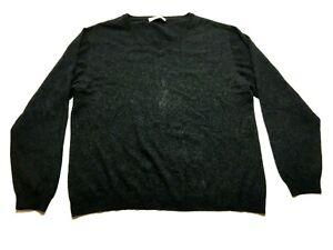 Pronto-Uomo-Mens-Gray-Long-Sleeve-V-Neck-Cashmere-Sweater-Size-XL