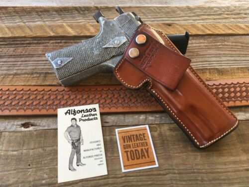 Vintage Alfonso/'s Brown Leather Sued Lined Holster for Colt 1911 Government