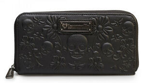 LOUNGEFLY-CHECKBOOK-WALLET-Skull-Faux-LEATHER-Black-Ziparound-EMBOSSED-FLOWER