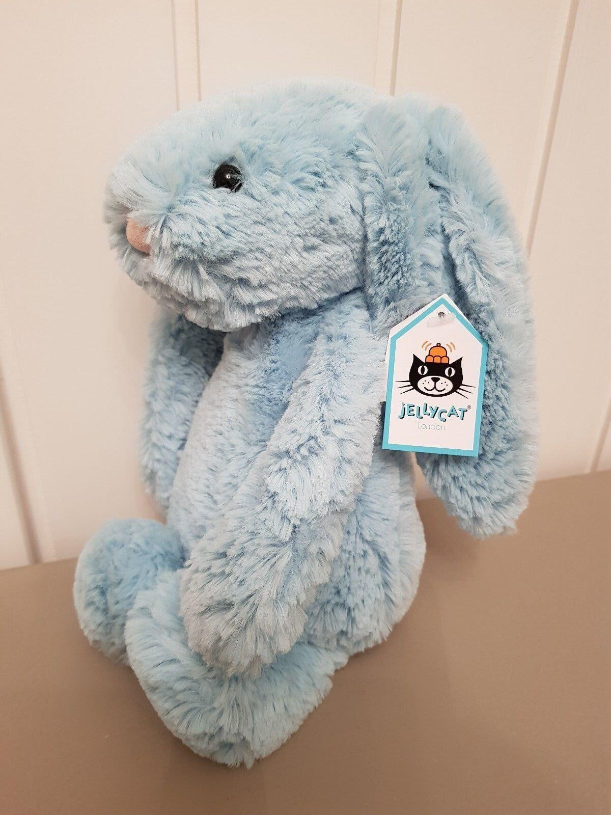 JellyCat Medium di TIMIDA Aqua Bunny nuovo con etichetta