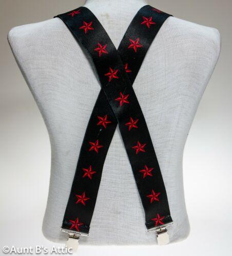 "Suspenders Black W// Red Stars Heavy Duty 1 1//2/"" Wide Clip On Suspenders"