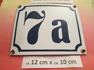 Hausnummer Nr. 7a dunkel-blau Zahl auf weißem Hintergrund 12 cm x 10 cm Emaille