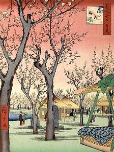 ART PRINT POSTER PAINTING JAPANESE WOODBLOCK CHERRY BLOSSOM TREE PARK NOFL0791