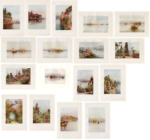Stampe-antiche-LOTTO-17-VEDUTE-LAGO-MAGGIORE-1905-OFFERTA-Old-prints-Lake