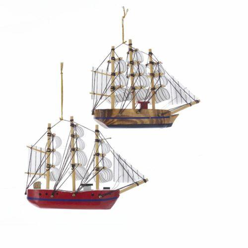 by Kurt Adler Set of 2 SCHOONER Wooden Ship Christmas Ornaments