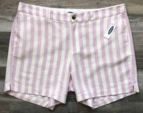 """Linen Blend NEW OLD NAVY Mid-Rise 5/"""" Inseam Mid-Rise Striped Shorts Sizes"""