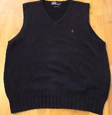 Polo Ralph Lauren Men's Navy V-Neck Blue Cotton Sweater Vest Size Large