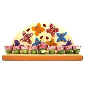 Chanukah-Hanukkah-Ceramic-Butterfly-Flower-Menorah-Judaic-Childrens-Ladybugs